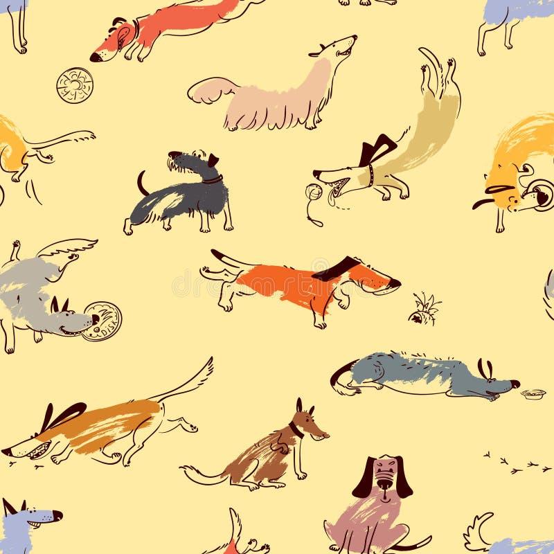 手拉的乱画逗人喜爱的狗 与plaing的宠物的无缝的样式 皇族释放例证