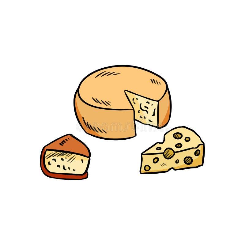 手拉的乳酪设置了有机五颜六色的乱画 库存例证