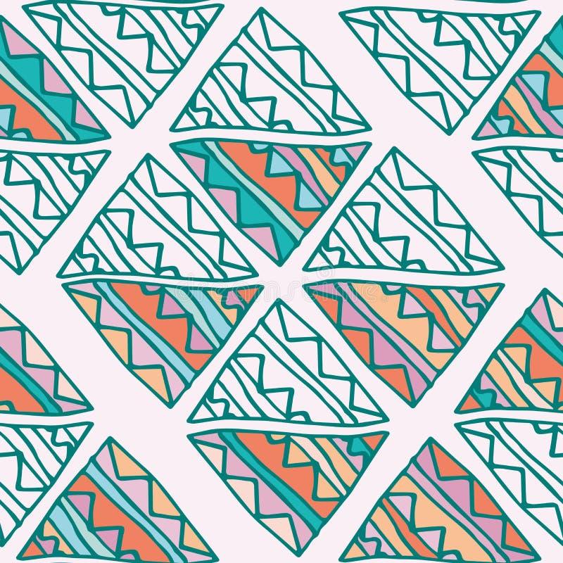 手拉的五颜六色的与绿色,桃红色,蓝色,橙色细节的三角无缝的样式 在灰棕色的乱画三角 向量例证