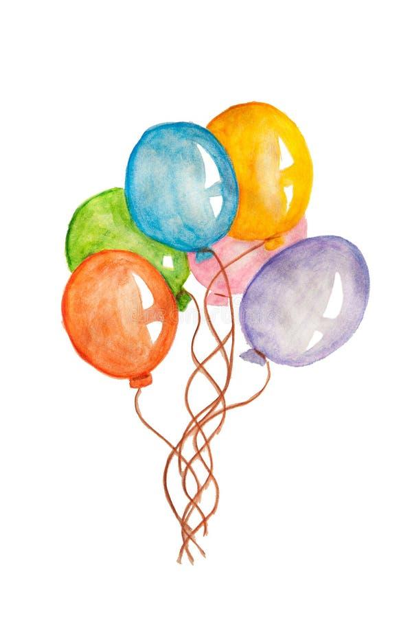 手拉的五颜六色的气球,在白色背景隔绝的水彩绘画 库存例证
