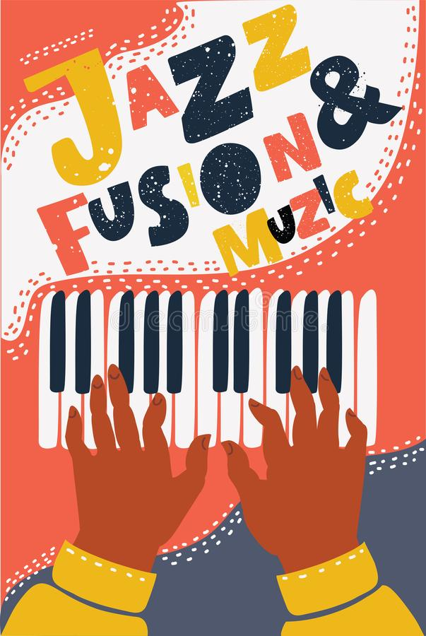 手拉的五颜六色的爵士乐融合音乐海报 向量例证