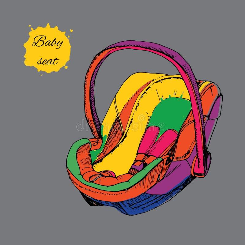 手拉的五颜六色的婴孩位子的例证婴儿的a.c.的 向量例证