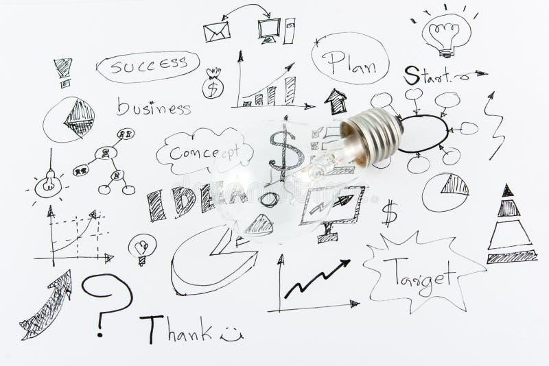 手拉的企业象想法和电灯泡 免版税库存照片