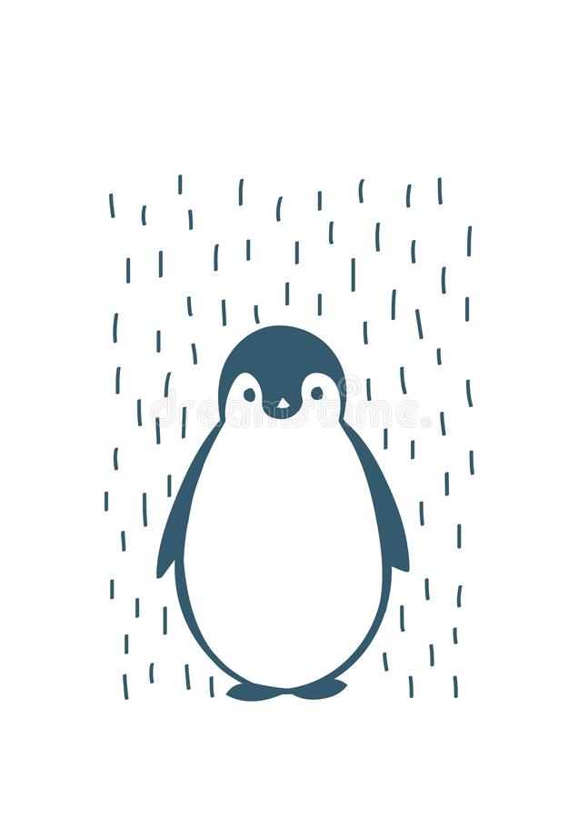 手拉的企鹅,传染媒介例证 图库摄影