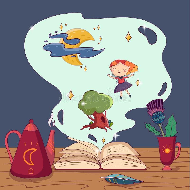 手拉的传染媒介不可思议的书、茶壶、翎毛钢笔和杯子有花的在木桌上 神仙的女孩、橡木树和月亮与 库存例证