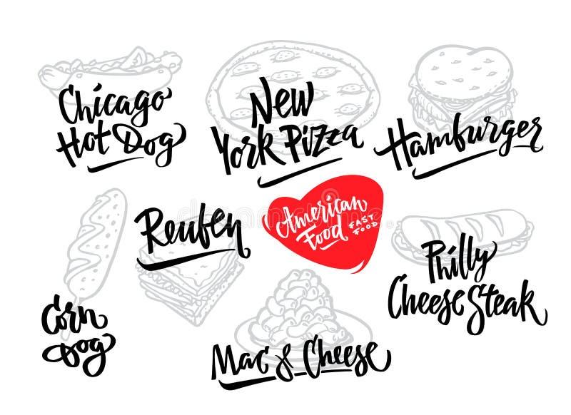手拉的传染媒介例证普遍的美国食物品种玉米面热狗,芝加哥热狗,汉堡包,费城乳酪 皇族释放例证