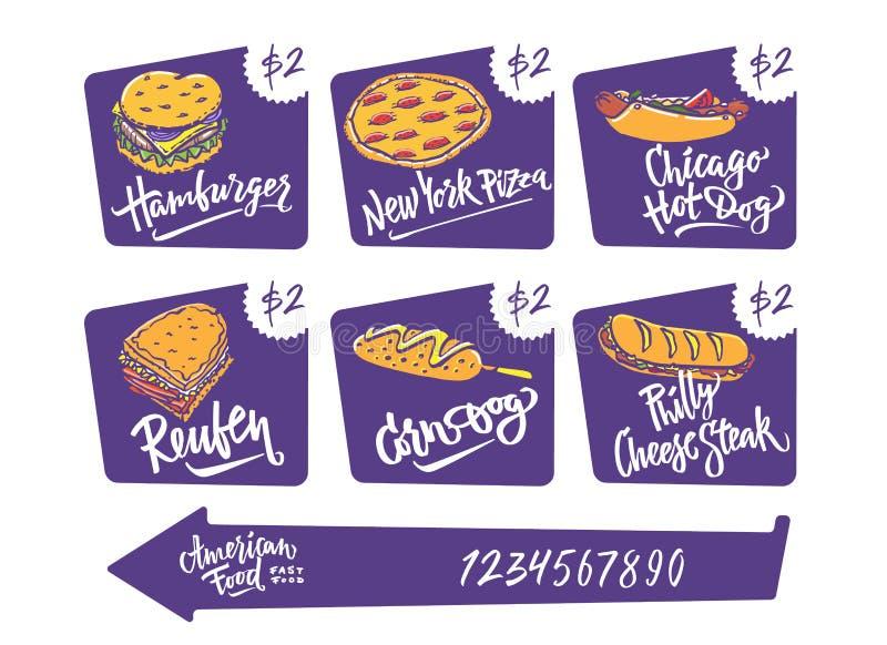 手拉的传染媒介例证普遍的美国食物品种玉米面热狗,芝加哥热狗,汉堡包,费城乳酪 向量例证