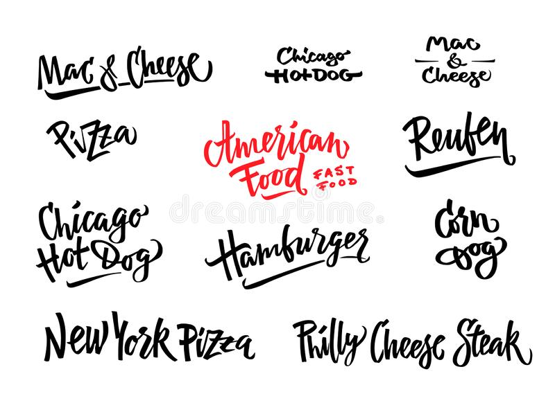 手拉的传染媒介例证普遍的美国食物品种玉米面热狗,芝加哥热狗,汉堡包,费城乳酪 库存例证