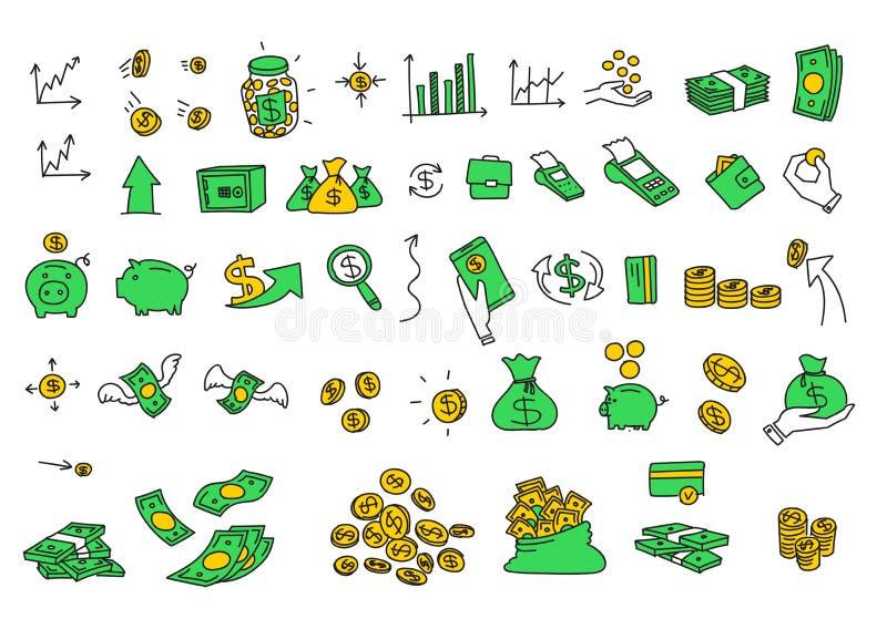 手拉的传染媒介例证金钱铸造票据元素 财务付款银行现金股票颜色传染媒介 库存例证