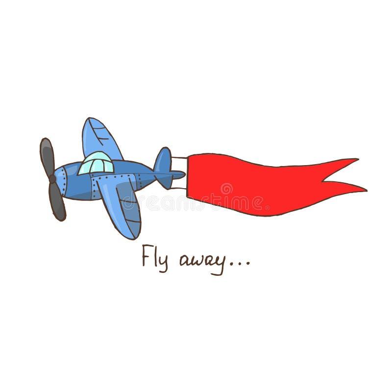 手拉的传染媒介例证,有红色丝带flyin的蓝色飞机 库存例证
