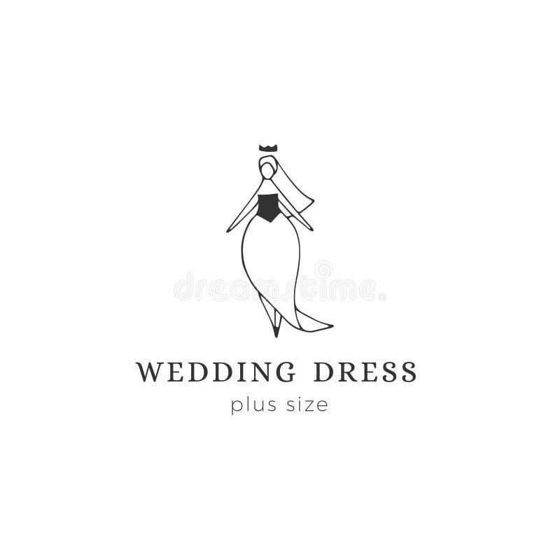 手拉的传染媒介商标模板 婚纱的可爱的超重妇女 身体正面,加上大小概念 皇族释放例证
