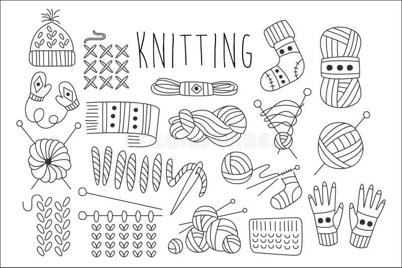 手拉的传染媒介套编织的相关题材的象 毛线,针,针,被编织的衣物 图表元素为 皇族释放例证