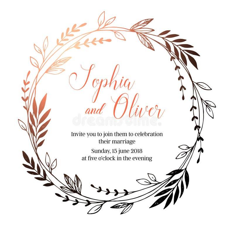 手拉的传染媒介婚礼邀请 葡萄酒装饰月桂树 库存例证