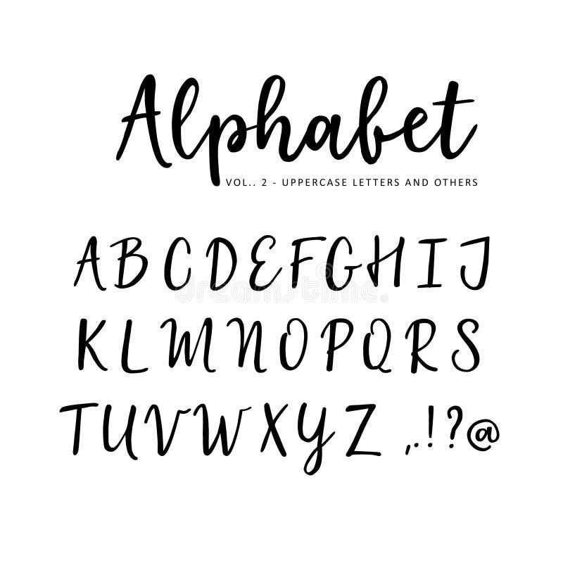 手拉的传染媒介字母表 刷子剧本字体 被隔绝的大写字目写与标志,墨水 书法 向量例证