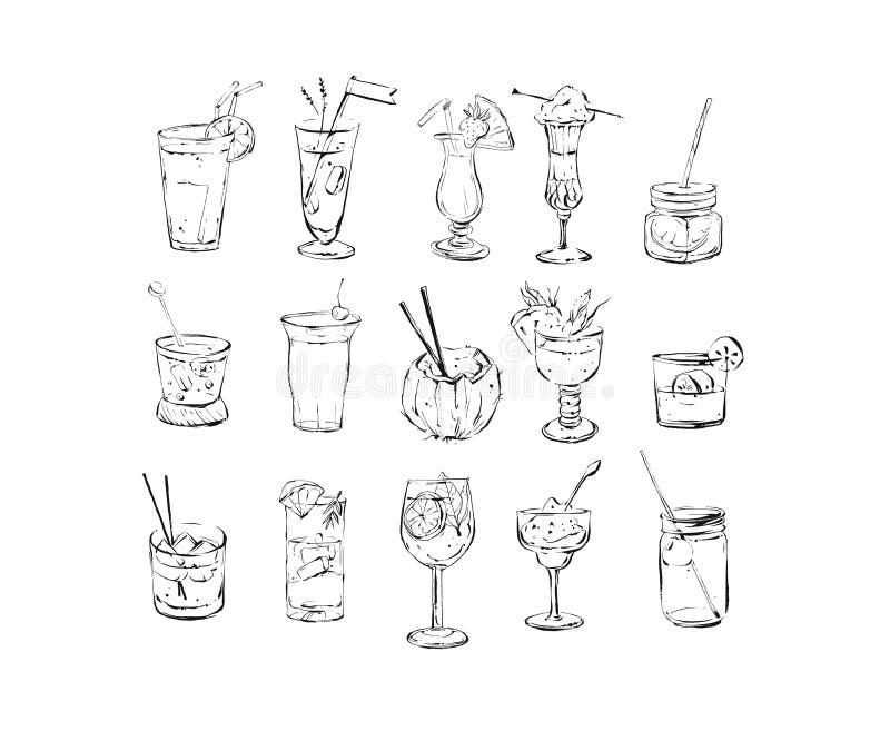 手拉的传染媒介抽象墨水图表刷子织地不很细略图大收藏设置与酒精鸡尾酒 库存例证