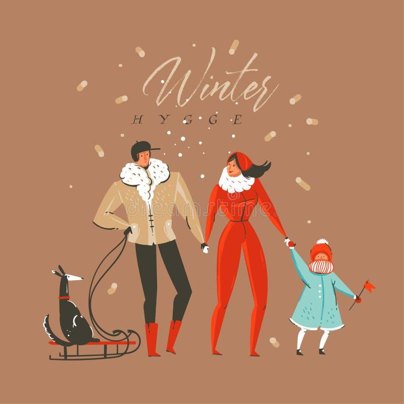 手拉的传染媒介摘要乐趣圣诞快乐和新年快乐时间动画片例证与家庭的贺卡 库存例证