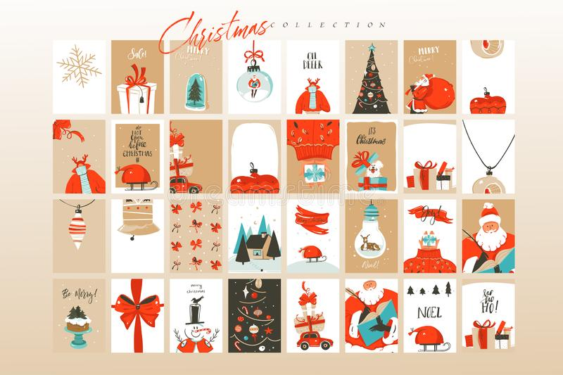 手拉的传染媒介摘要乐趣圣诞快乐时间动画片例证贺卡大的模板和的背景 向量例证