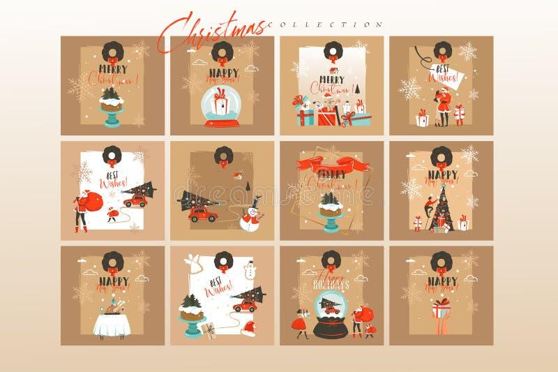 手拉的传染媒介摘要乐趣圣诞快乐时间动画片例证贺卡大的模板和的背景 皇族释放例证