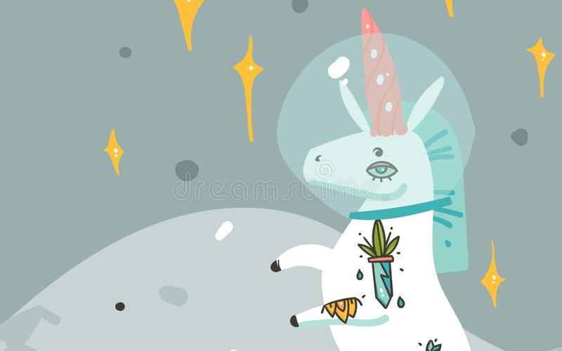 手拉的传染媒介摘要图表创造性的动画片例证拟订与宇航员独角兽的模板与守旧派 向量例证