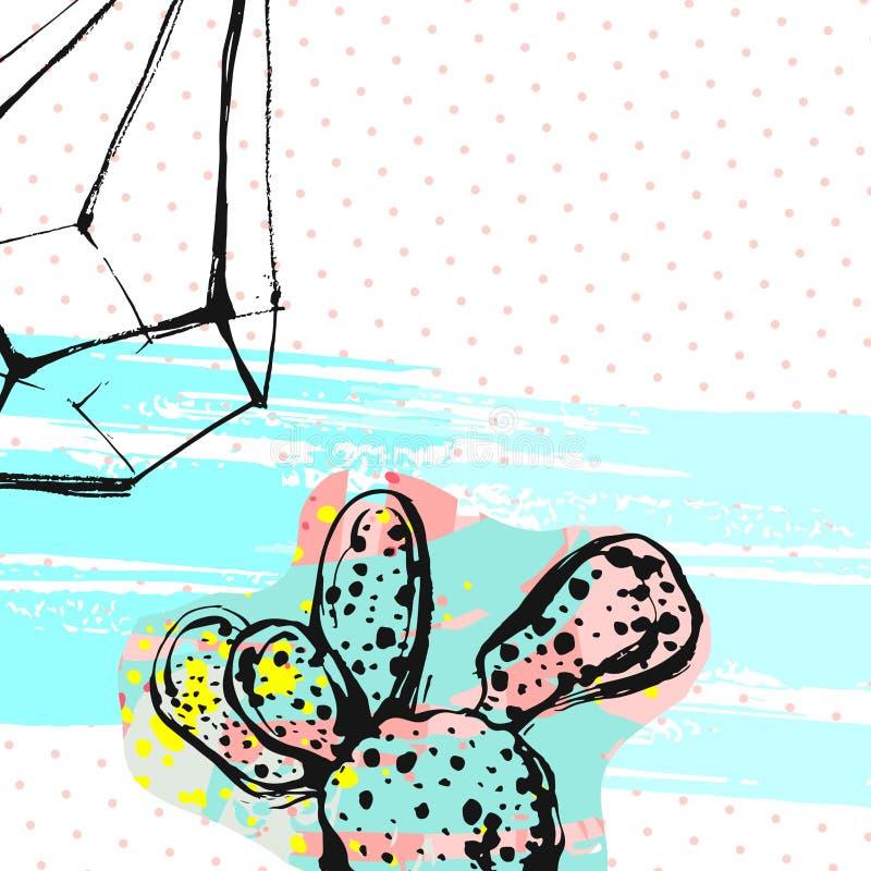 手拉的传染媒介摘要图表创造性的多汁植物、仙人掌和玻璃容器拟订在五颜六色的艺术性的刷子的模板 库存例证