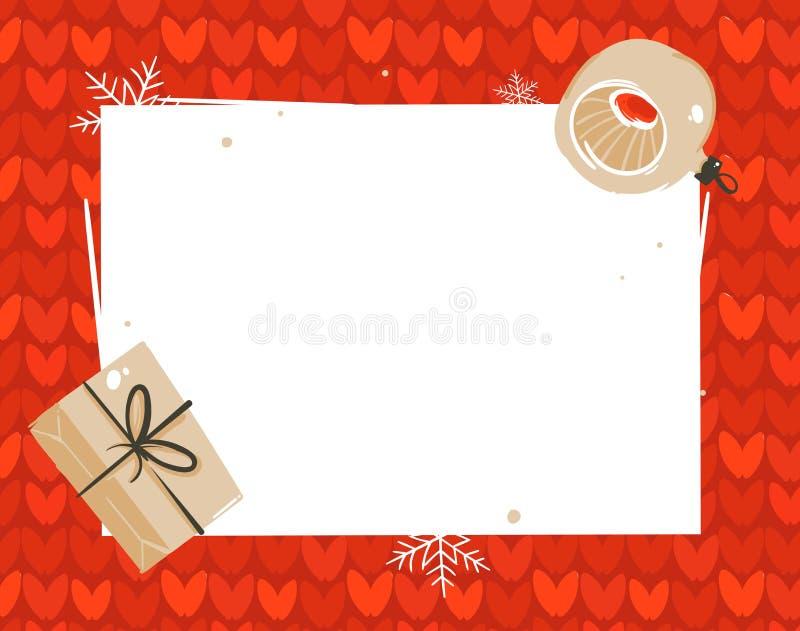 手拉的传染媒介摘要圣诞快乐和新年快乐计时动画片例证贺卡模板标记与 向量例证