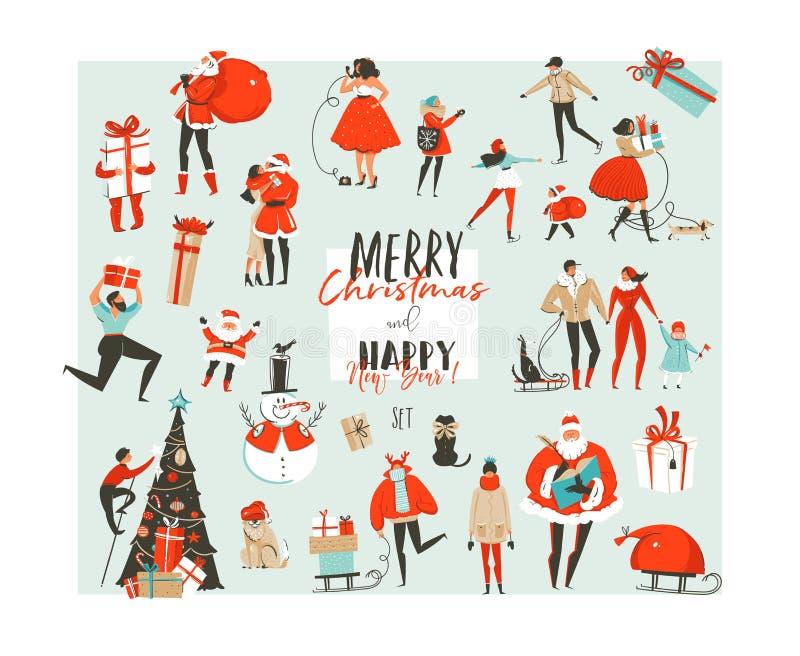 手拉的传染媒介摘要圣诞快乐和新年快乐计时大动画片例证收藏布景 皇族释放例证