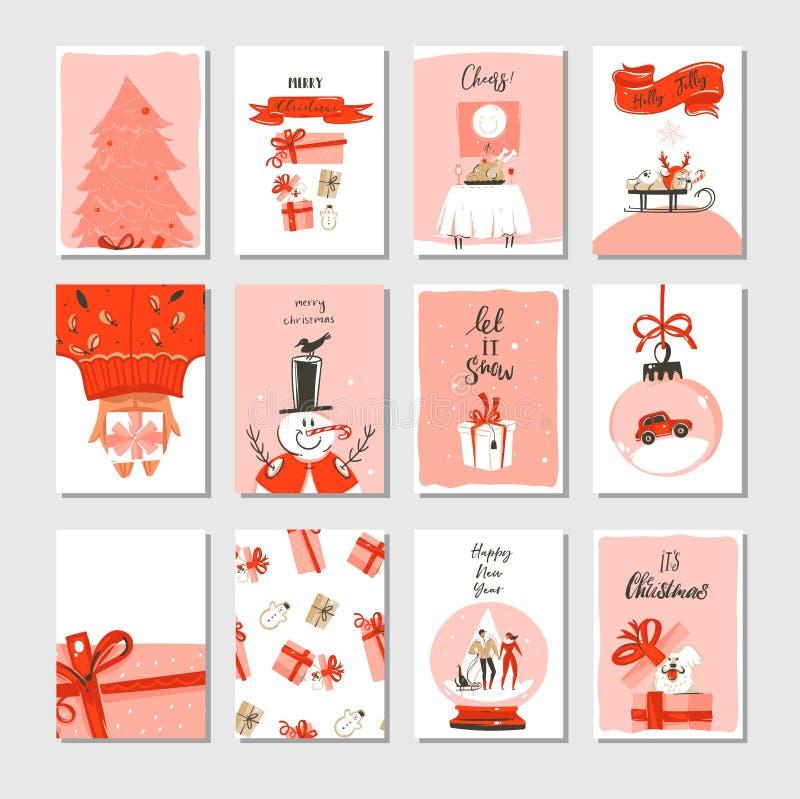 手拉的传染媒介摘要圣诞快乐时间动画片卡片收藏设置了与逗人喜爱的例证,惊奇礼物盒 皇族释放例证