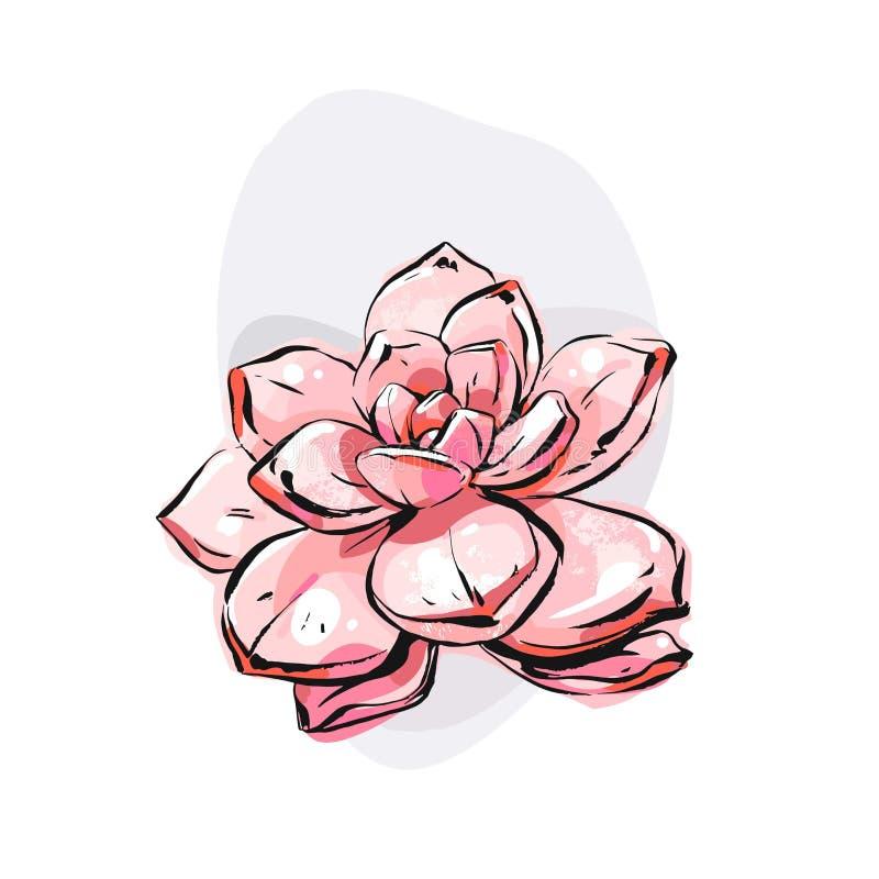 手拉的传染媒介摘要墨水图表刷子构造了在桃红色淡色的略图开花多汁花 皇族释放例证