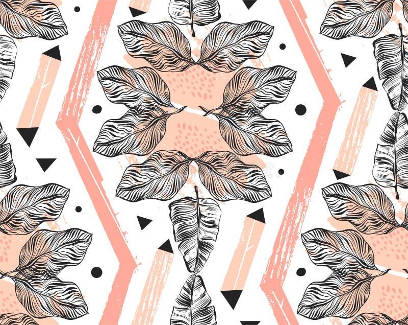 手拉的传染媒介摘要徒手画构造了与几何形状,有机纹理的无缝的热带样式拼贴画 向量例证