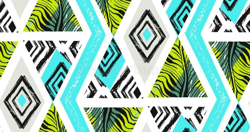 手拉的传染媒介摘要徒手画构造了与斑马主题,有机纹理的无缝的热带样式拼贴画 向量例证