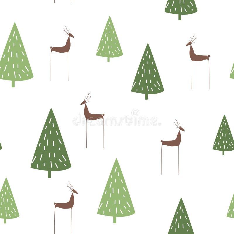 手拉的传染媒介摘要斯堪的纳维亚圣诞树和鹿无缝的样式 向量例证
