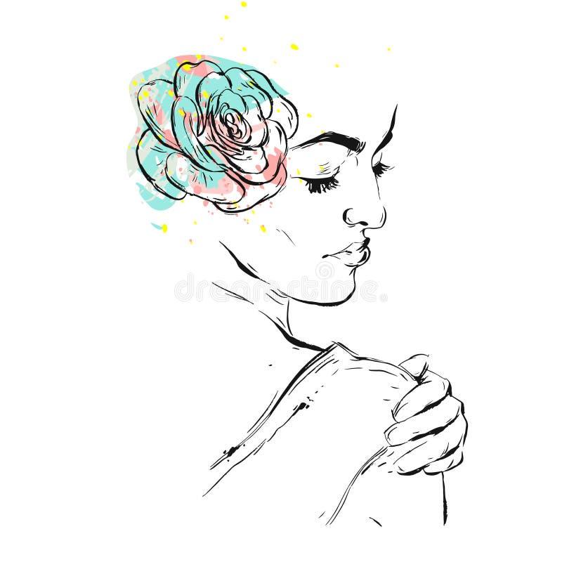手拉的传染媒介摘要构造了与女性新娘图的拼贴画例证与在头的多汁植物在柔和的淡色彩 向量例证