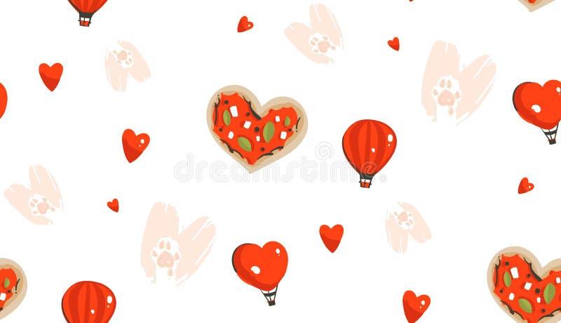 手拉的传染媒介摘要现代动画片愉快的情人节概念无缝的样式用逗人喜爱的心脏形状薄饼,猫 皇族释放例证