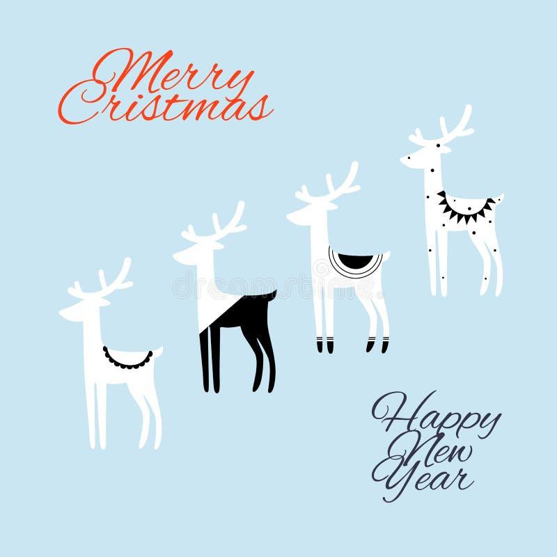 手拉的传染媒介摘要黑色白色鹿圣诞快乐和新年快乐计时葡萄酒动画片例证贺卡te 库存例证