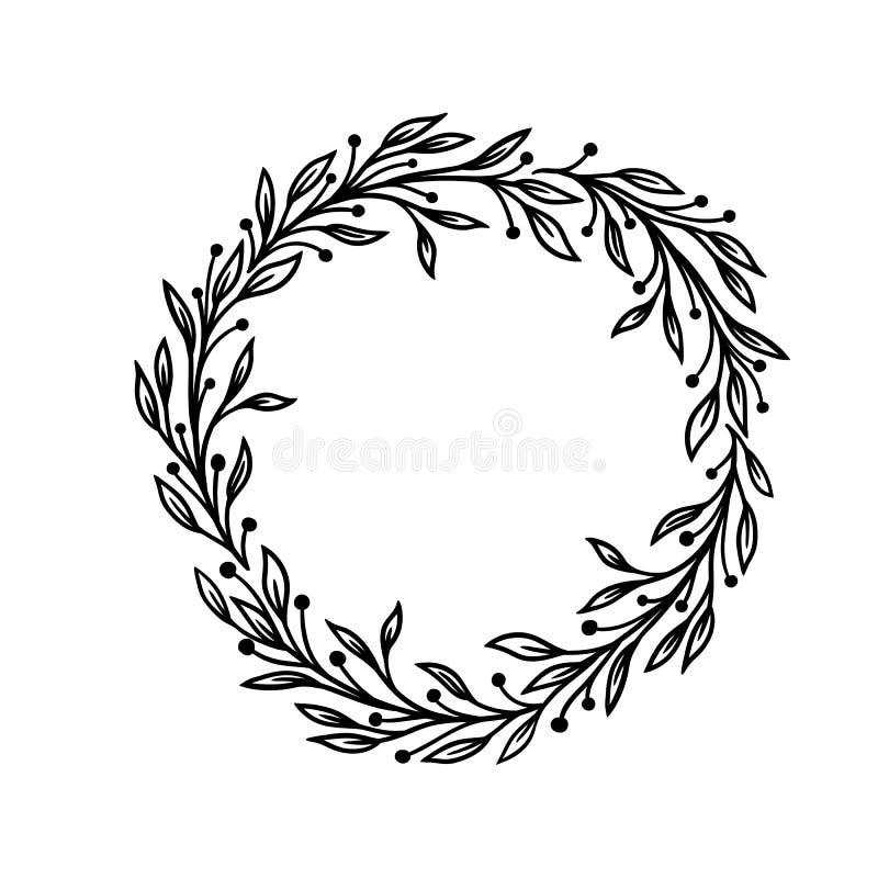 手拉的传染媒介框架 与叶子的花卉花圈为婚姻和假日 另外所有是能装饰设计容易地编辑的要素eps8格式单个对象 查出 向量例证