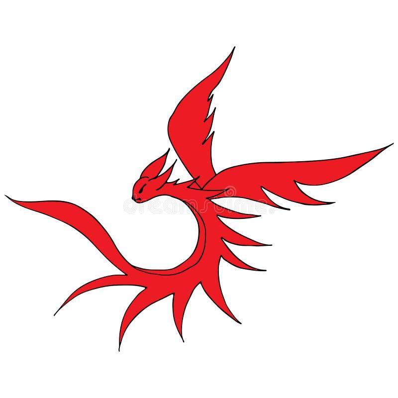 手拉的传染媒介红色龙例证 意想不到的龙象 神话aminal徒手画的剪影  幻想概述 向量例证