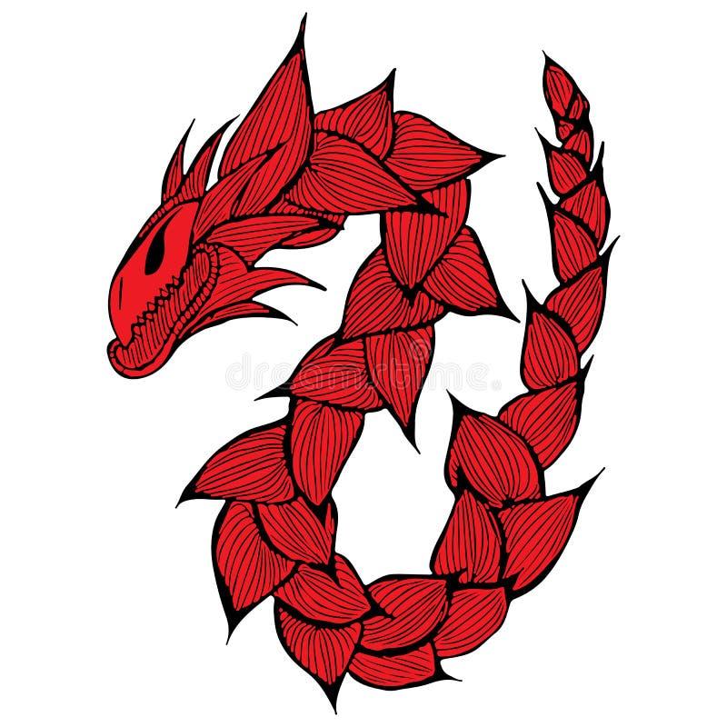 手拉的传染媒介红色龙例证 意想不到的龙象 神话aminal徒手画的剪影  幻想概述 免版税库存照片