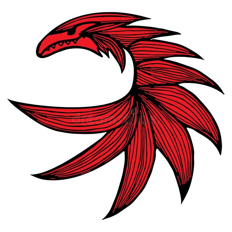 手拉的传染媒介红色龙例证 意想不到的龙象 神话aminal徒手画的剪影  幻想概述 库存例证