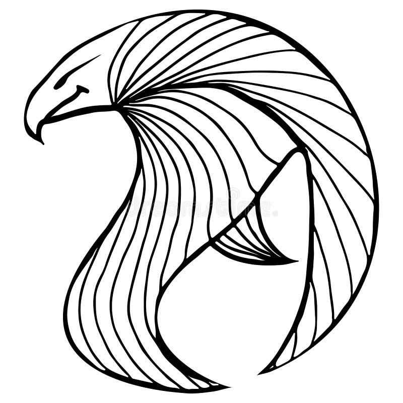 手拉的传染媒介老鹰例证 意想不到的鹰象 概述乌鸦徒手画的剪影  幻想概述例证 库存例证