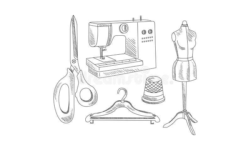 手拉的传染媒介象与剪裁题材有关 缝纫机、剪刀、晒衣架、时装模特和顶针 向量例证