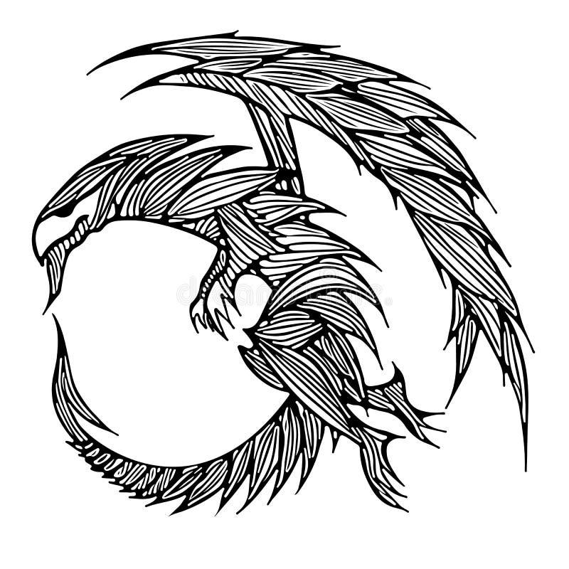 手拉的传染媒介龙例证 意想不到的龙象 神话aminal徒手画的剪影  幻想概述 皇族释放例证
