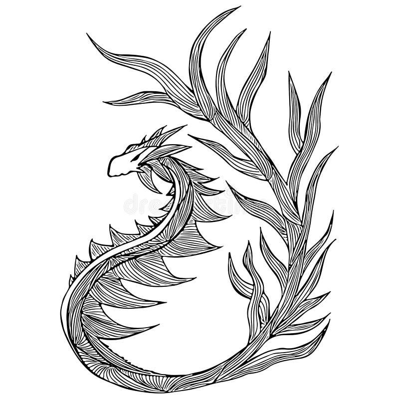 手拉的传染媒介龙例证 意想不到的龙象 神话aminal徒手画的剪影  幻想概述 库存例证