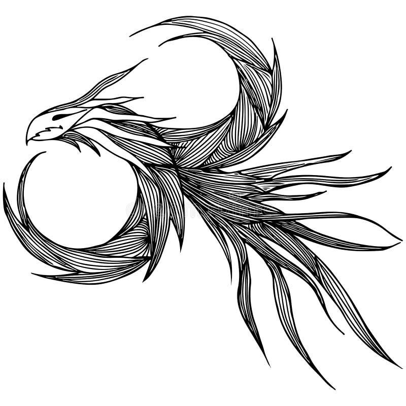手拉的传染媒介龙例证 意想不到的龙象 神话aminal徒手画的剪影  幻想概述 向量例证