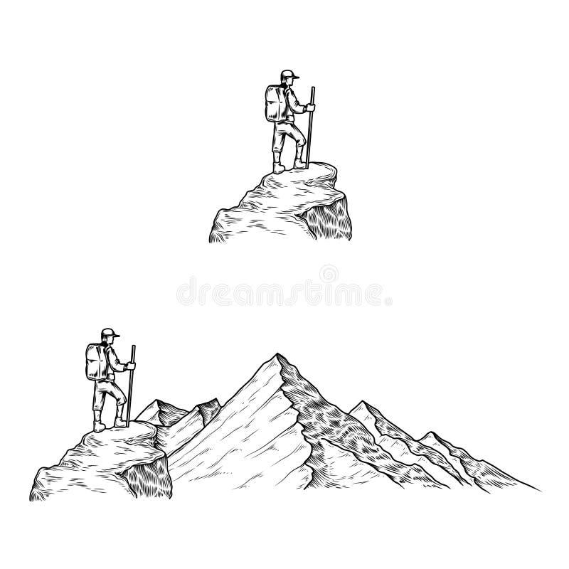 手拉的传染媒介例证与游人的山 向量例证