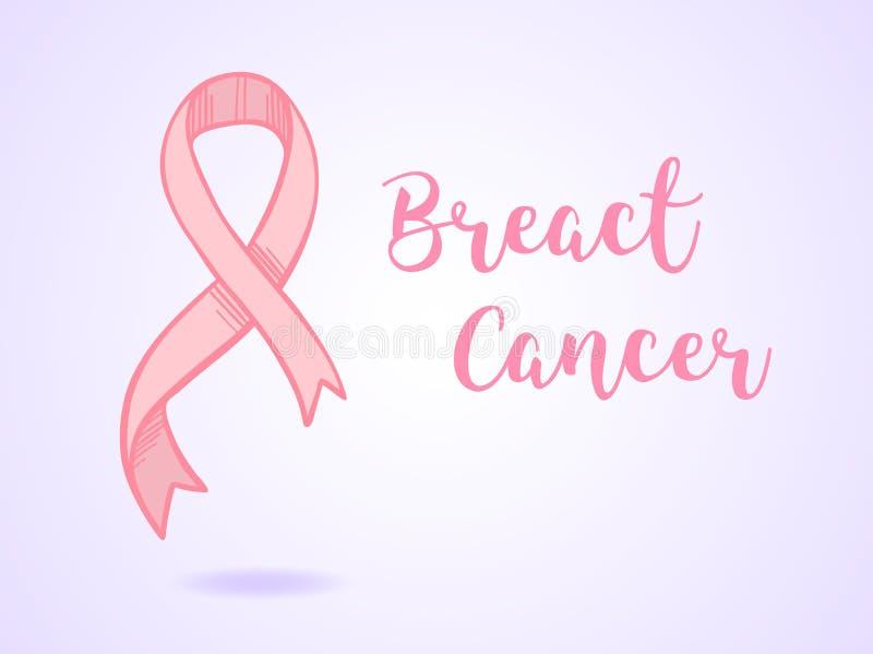 手拉的传染媒介例证-与桃红色癌症丝带的卡片 B 向量例证