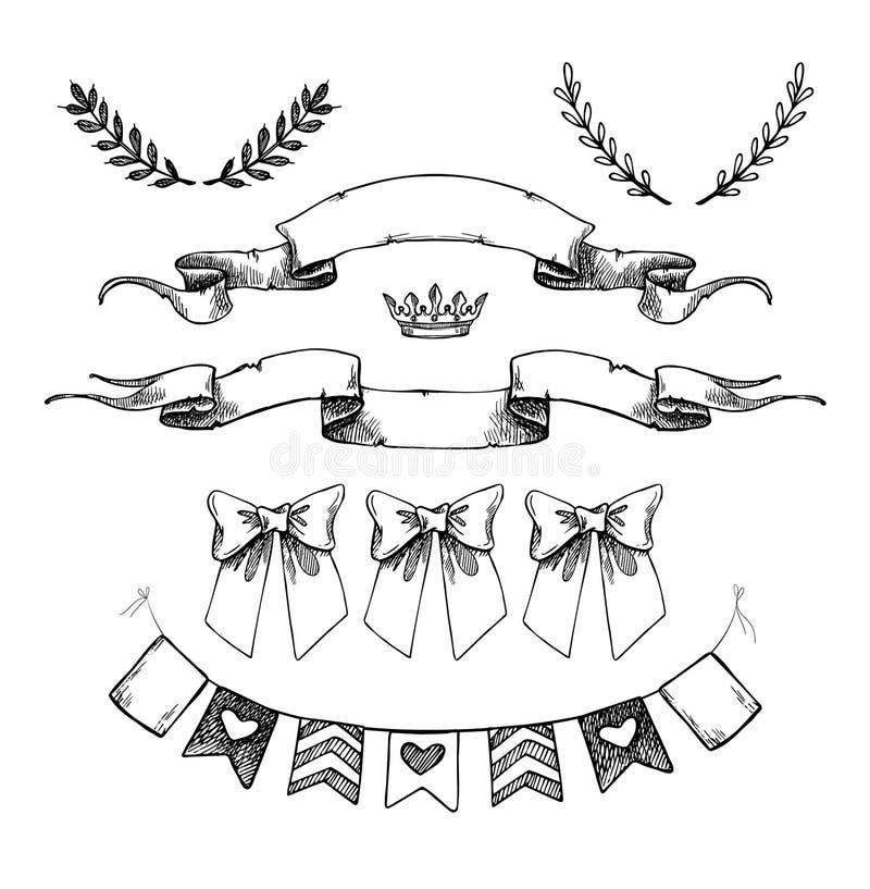 手拉的传染媒介例证-旗子,丝带和其他的套 皇族释放例证