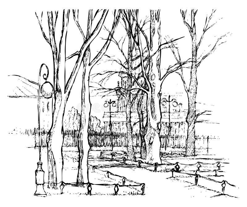 手拉的传染媒介圣彼德堡 线艺术 向量例证
