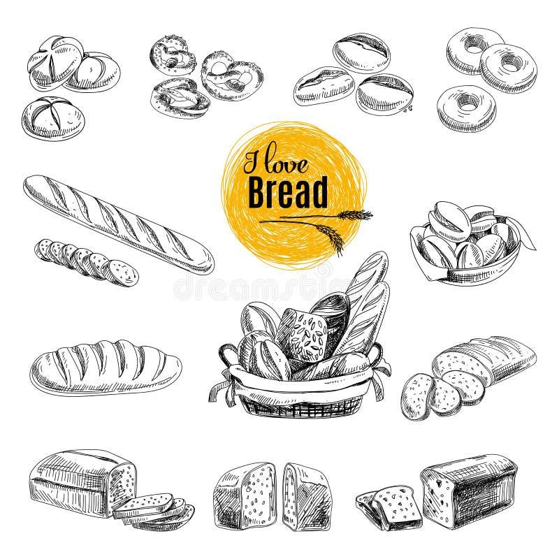 手拉的传染媒介套面包店产品 草图 向量例证