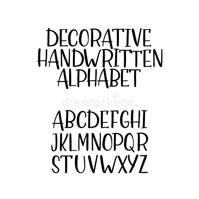 手拉的传染媒介字母表,手写的字体,被隔绝的信件 皇族释放例证