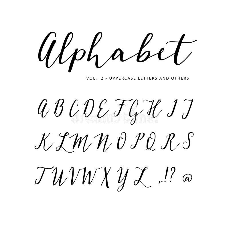 手拉的传染媒介字母表 剧本字体 被隔绝的信件写与标志,墨水 书法,在上写字 向量例证